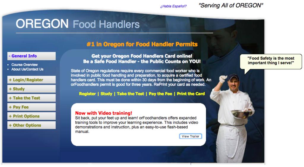 Oregon Food Handler Permit Site