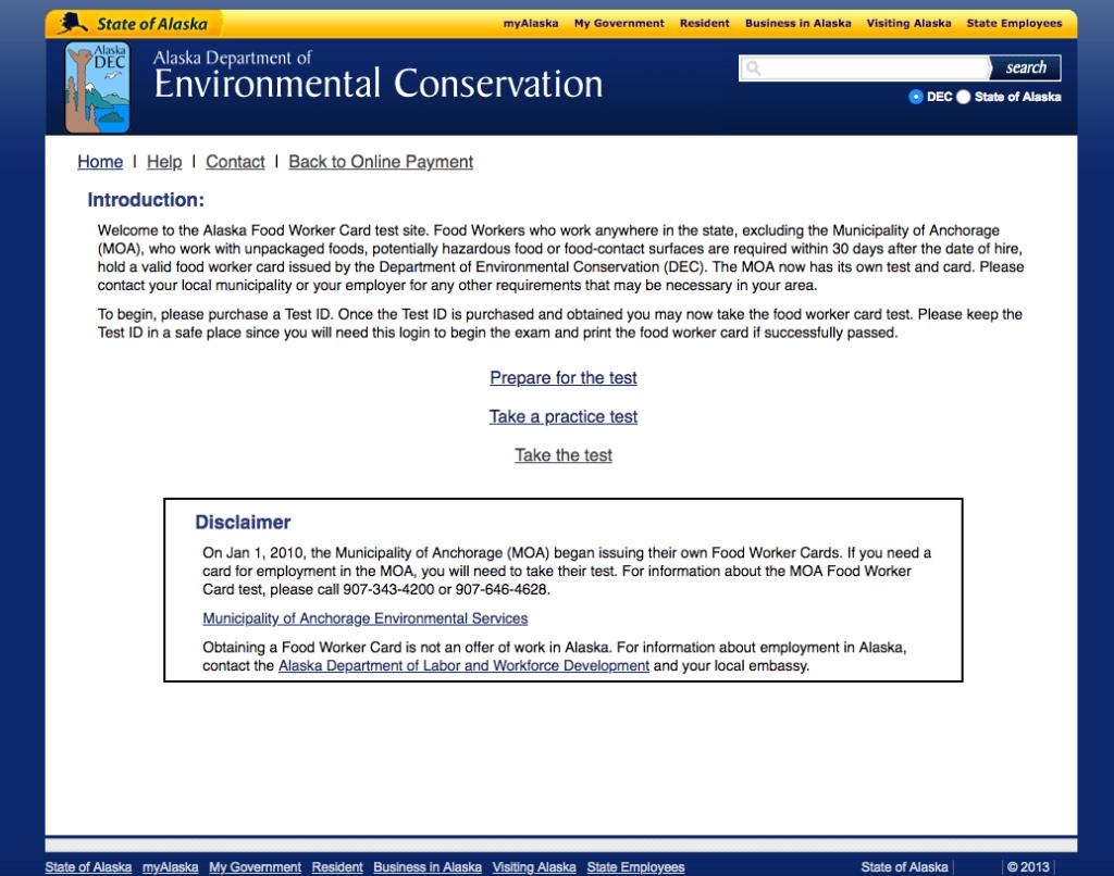 alaska food handler card site screenshot
